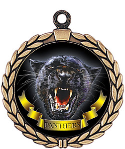 Panther Mascot Medal HR905-7165 with Neck Ribbon