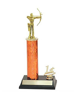 R2 Archery Trophies with a single round column and trim figure.