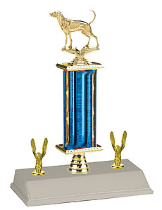 R3R Coon Dog Bench Show Trophies with a single round column and trim.