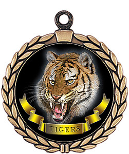Tigers Mascot Medal HR905-7163 with Neck Ribbon