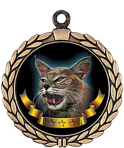 Bobcat Mascot Medal HR905-7172 with Neck Ribbon