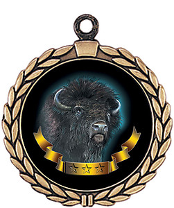 Buffalo Mascot Medal HR905-7175 with Neck Ribbon