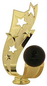 Bowling Ball Trophy Topper Ribbon Stars
