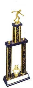 2DPC Bowling Trophies are a double post trophy with a stacked design.