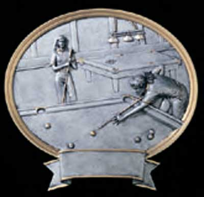 Female Resin Billiard Plaque or Pool Plaque Award