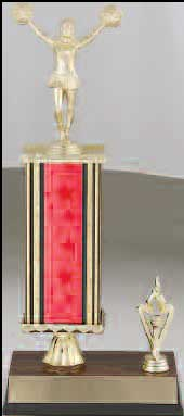 R2R Cheerleader Trophies with a single column, riser and trim.