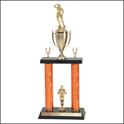 Big Bodybuilding Trophies and Lifting Trophies with Double Posts