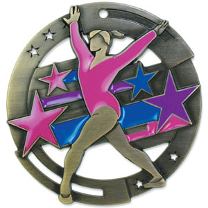Large Enamel Gymnast Medal with Six Pricing Options