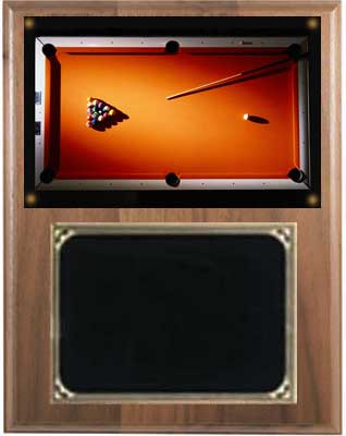 Solid Walnut Pool or Billiard Plaques V Series