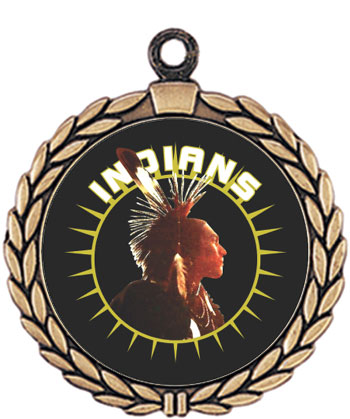 Indian's Mascot Medal, Brave's Mascot Medal HR905-642 with Neck Ribbon