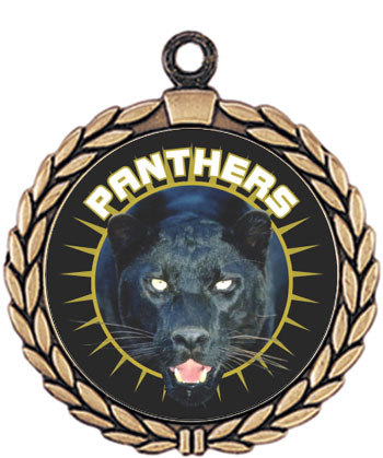Panther Mascot Medal HR905-665 with Neck Ribbon