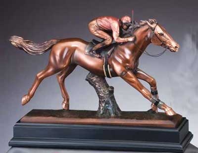 Resin Race Horse and Jockey Sculpture