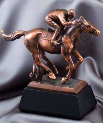 Race Horse and Jockey Resin Trophy Statue