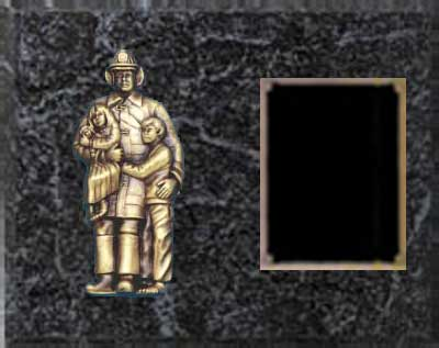 Fireman Plaque Award, Black Marble Finish BMF4