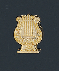 Gold Finish Music Lyre Letter Pin